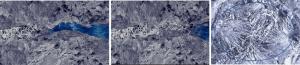 Cristales de CSH formándose en capilares del concreto al encontrarse con agua.
